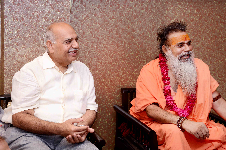 Mr. Malayaj Garga with Swami Dharam Deva Ji